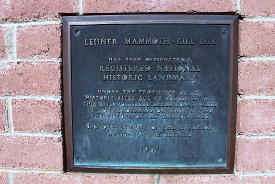 Lehners Mammoth Kill Site: Historic Landmark Plaque.