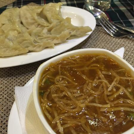 Blueberry Inn: the momos were dry, the soup was nice.