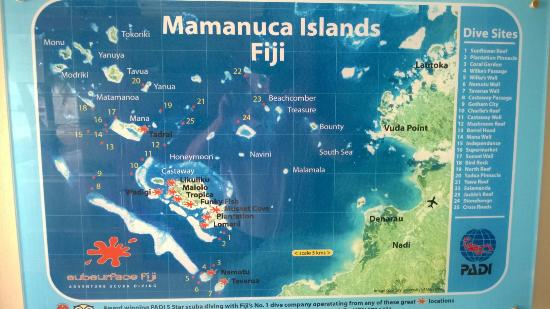 Mamanuca Islands, Fidschi: Dive site map, Mamanuca