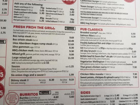 Becketts Bank Leeds Food Menu