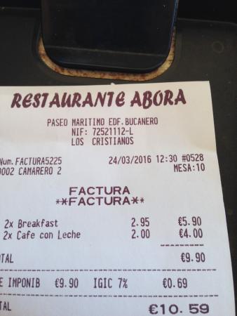 Abora: very reasonable bill