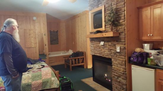 Mitchell's Lodge & Cottages: Jacuzzi and front of fireplace in the bedroom area
