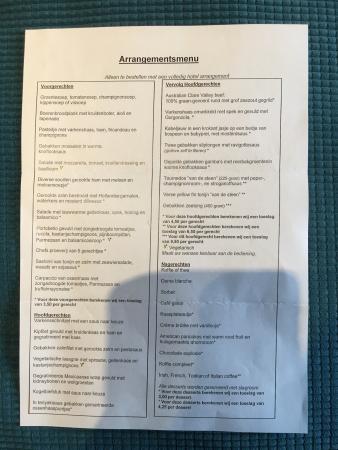 Gilze, Belanda: Kamer (met romantisch pakket) en menukaart diner.