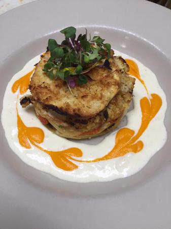 Moe's Restaurant: roasted cauliflower, broccoli, and burrata lasagnette, garlic cream