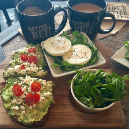 Getting our Buzz on! Delicious Avocado toast, and the honey almond milk latte is on point
