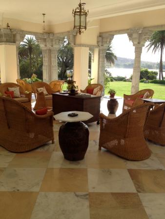 This is the sitting verandah area overlooking the grounds and the lake.