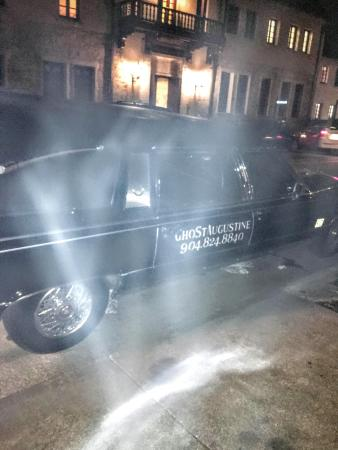 GhoSt Augustine: Everdark Express Hearse Ride or Pub Hearse Ride. Spirit by the hearse in pic!