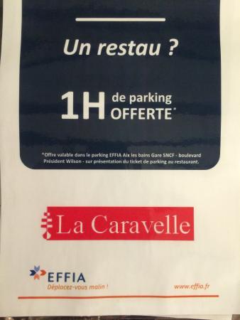 La Caravelle Restaurant-Pizzeria : PARTENARIAT AVEC LE PARKING EFFIA