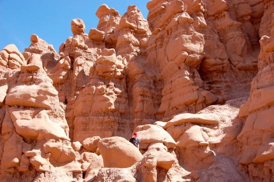 Goblin Valley State Park Boys Climbing On The Rocks