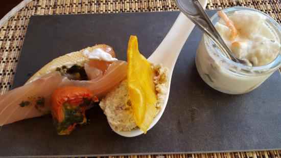 Iles des Saintes, Guadeloupe: Trio of fish - a great appetizer choice