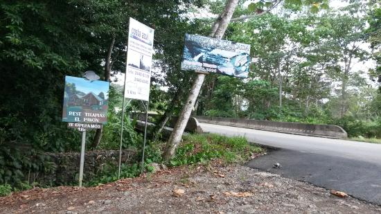Cascada Pavon - Waterfall in Costa Rica: This is the sign for the waterfall