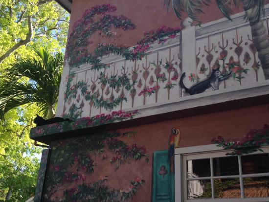 A mural (and cat!) from the courtyard at Courtney's Place; a lovely spot to enjoy breakfast