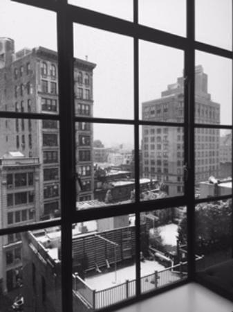 Crosby Street Hotel: Snowing in NYC, view from bed at Crosby.