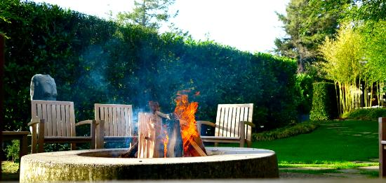 the firepit at Coast Cabins