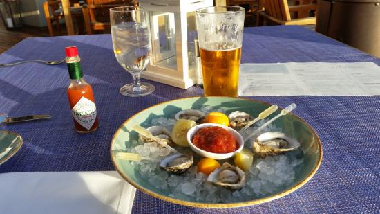 Del Mar, CA: A snack of oysters and beer to tide me over until dinner