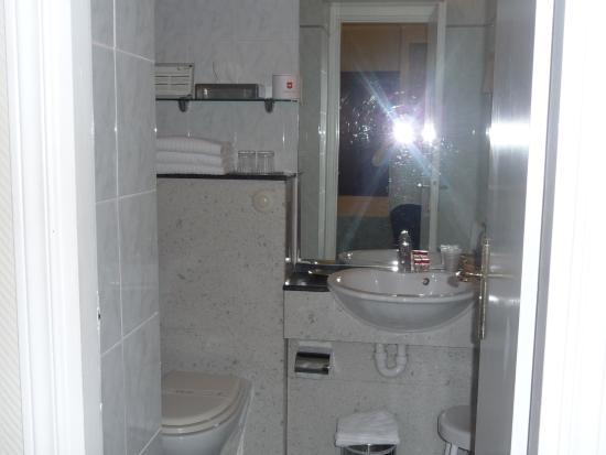 Hotel Suisse: Salle de bains avec douche et baignoire;