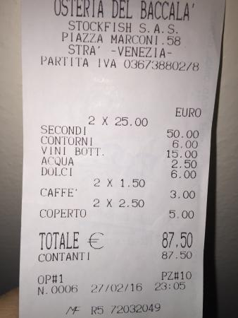 Stra, Italy: Osteria del Baccalà