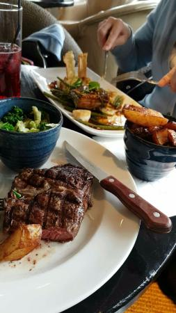 Betchworth, UK: Steak and the pork belly - double cooked fries v tasty too