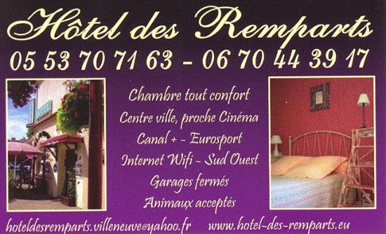 Hotel Des Remparts : carte de visite de l'hôtel