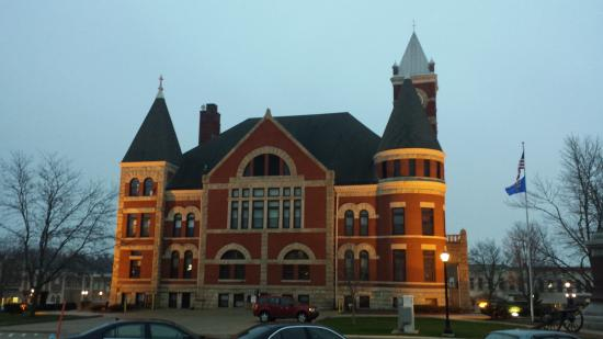 view out window of Monroe's courthouse