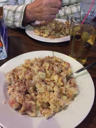 Wishek, ND: Enjoying a delicious plate of knephla, sauerkraut and bacon!