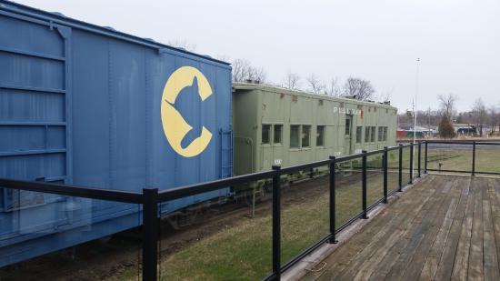 New Buffalo Railroad Museum: train cars out back