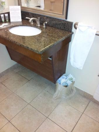 Staybridge Suites Lafayette-Airport: bathroom that never got cleaned/replenished...