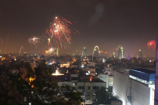 Surya Veg Restaurants (Hotel Supreme): Roof-Top Restaurant Diwali View