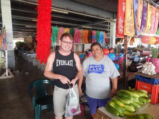 Salelologa Market: a helpful stall holder...