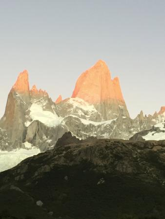 PuduLodge Hosteria Patagonica: Morning view of the sun starting to shine on Mount Fitz Roy
