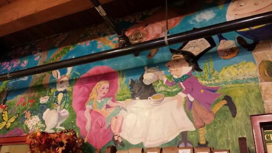 Back Wall Whimsical Tea Party Mural for Alice in Wonderland