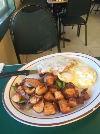 keene cafe: Chicken Fried Steak with Country Potatoes,  Breakfast Burrito with salsa