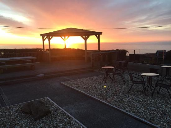 Widemouth Bay, UK: Sunset over our new Wedding Gazebo 14th April 16