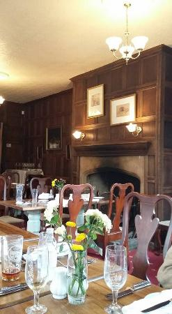 The Radnorshire Arms: Panelled dining room.