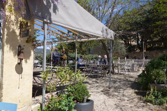 La Roque Alric, France: The terrace.