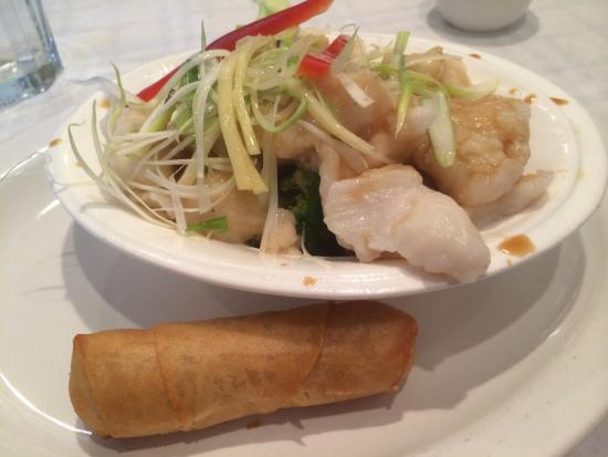 Lake Zurich, IL: Steamed Fish in Ginger Sauce with Egg Roll