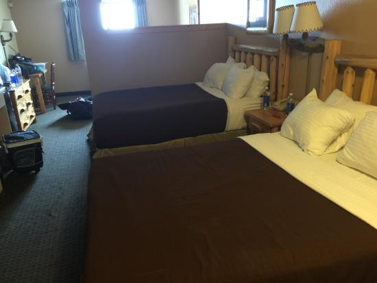 Tundra Lodge Resort Waterpark & Conference Center: Mixed feelings- comfortable, large room, good service, filthy carpet by walls, stained bedspread
