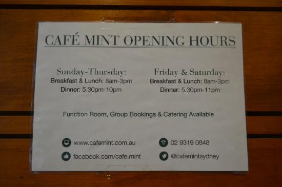 Cafe Mint: opening hours