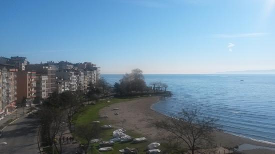 Unye, Turki: Mükemmel sabah ve deniz manzarası, gün batımı şahane olur...
