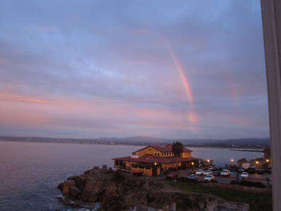 Spindrift Inn: View of a double rainbow from the window of our room