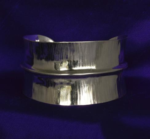 Denman Island, Canada: Argentium silver cuff bracelet, hand forged and beautifully designed .