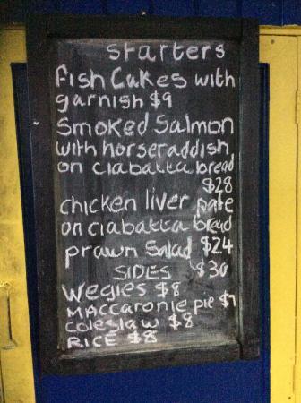 Mullins, Barbados: starter menu 15th april 2016