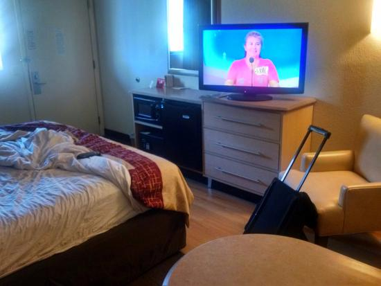 my bed widescreen tv and the chair where my wallet fell under haha rh tripadvisor co uk