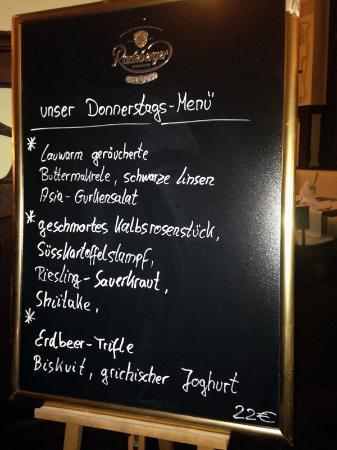 Markkleeberg, Germania: Die Angebotskarte des Tages: Eine Schiefertafel