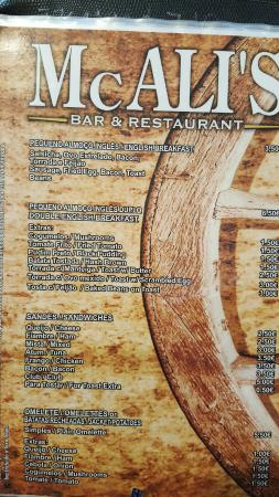 Jojo's Bar : Menù