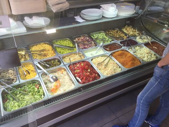 San Gwann, Malta: A selection of fresh salads, fresh salmon, Shish Kebabs, marinated chicken breasts and more ....
