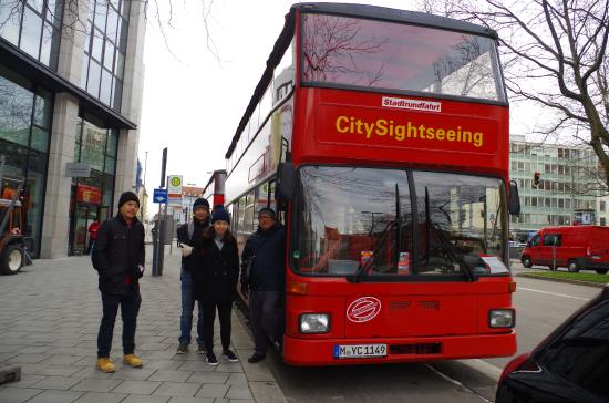 City Sightseeing Munich: Visitors ready to go onboard the City Sightseeing Hop On - Hop Off Bus