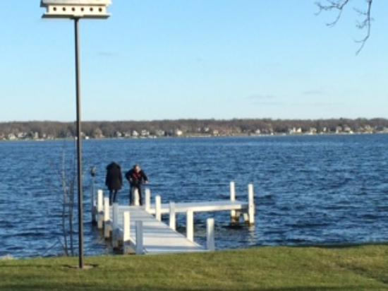 Private pier on Delavan Lake off Lake House