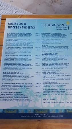 Zazil Ha : menu