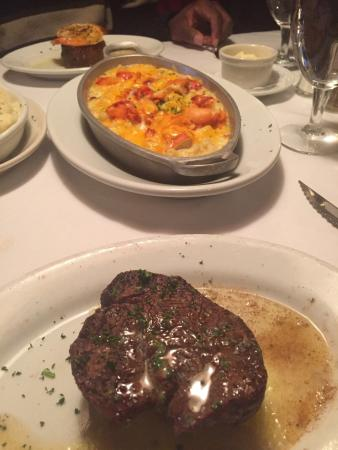 Ruth's Chris Steak House: My filet mignon and the flavorful lobster Mac and chees.